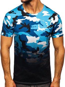 Bolf Herren T-Shirt mit Motiv Camo Azurblau  S808