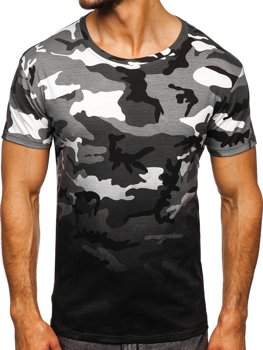 Bolf Herren T-Shirt mit Motiv Camo Grau  S808