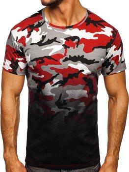 Bolf Herren T-Shirt mit Motiv Camo Grau-Weinrot  S808