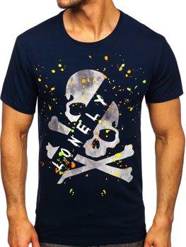 Bolf Herren T-Shirt mit Motiv Dunkalblau Y70008