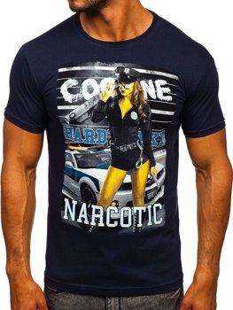 Bolf Herren T-Shirt mit Motiv Dunkelblau  004