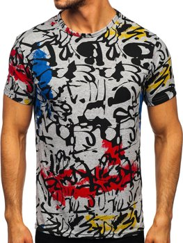 Bolf Herren T-Shirt mit Motiv Grau  14901