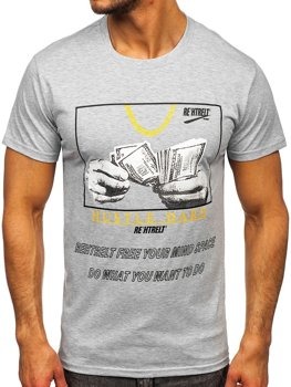 Bolf Herren T-Shirt mit Motiv Grau  KS2538