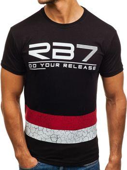 Bolf Herren T-Shirt mit Motiv Schwarz  0008