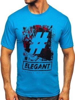 Bolf Herren T-Shirt mit Motiv Türkis  14456