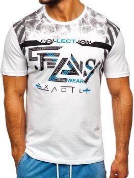 Bolf Herren T-Shirt mit Motiv Weiß  14227-1