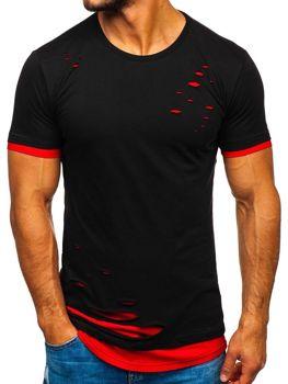 Bolf Herren T-Shirt ohne Motiv Schwarz-Rot  10999