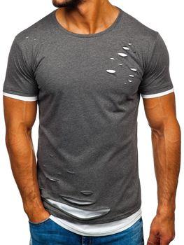 Bolf Herren T-Shirt ohne Motiv Schwarzgrau  10999