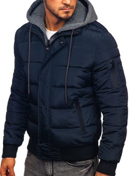 Bolf Herren Übergangsjacke Sport Jacke mit Steppmuster Dunkelblau  JK386