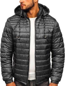 Bolf Herren Übergangsjacke Sport Jacke mit Steppmuster Schwarzgrau  50A411