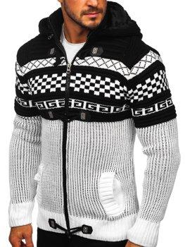 Bolf Herren Warmer Pullover mit Kapuze Aufknöpfbar Jacke Weiß  2061