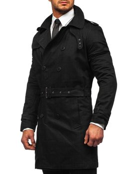 Bolf Herren Zweireihiger Mantel Trenchcoat mit Stehkragen und Gürtel Schwarz  5569