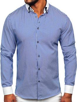 Bolf Herrenhemd Elegant Langarm Blau 0909