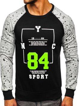 Bolf Herrensweatshirt ohne Kapuze mit Aufdruck Schwarz DD07