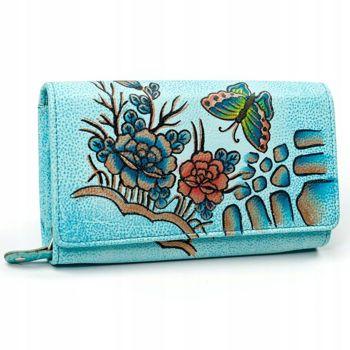 Damen Leder Geldbörse Blau 3090