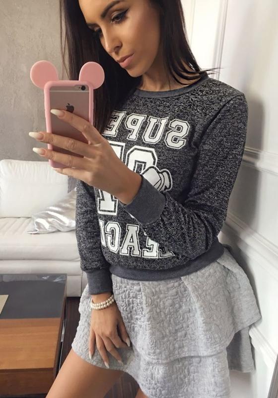 Bolf Damen Sweatshirt ohne Kapuze Schwarz 7256