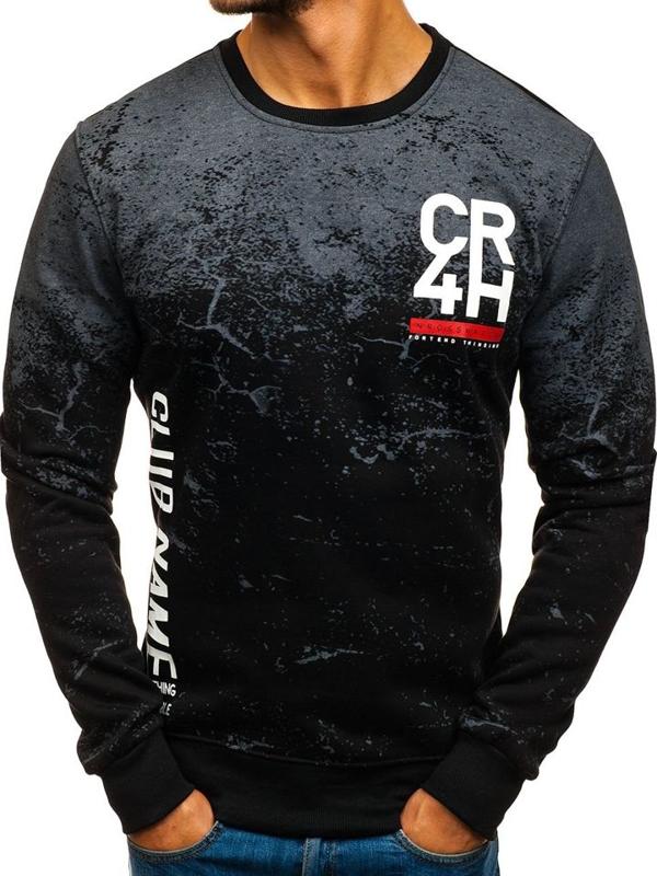 Bolf Heren Sweatshirt ohne Kapuze mit Motiv Schwarz  DD390