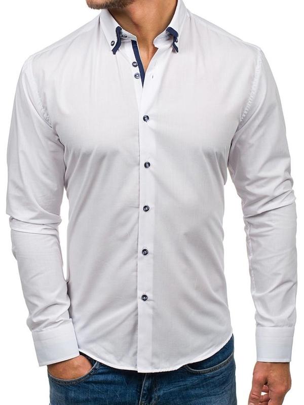 Bolf Herren Hemd Elegant Langarm Weiß  6898-1