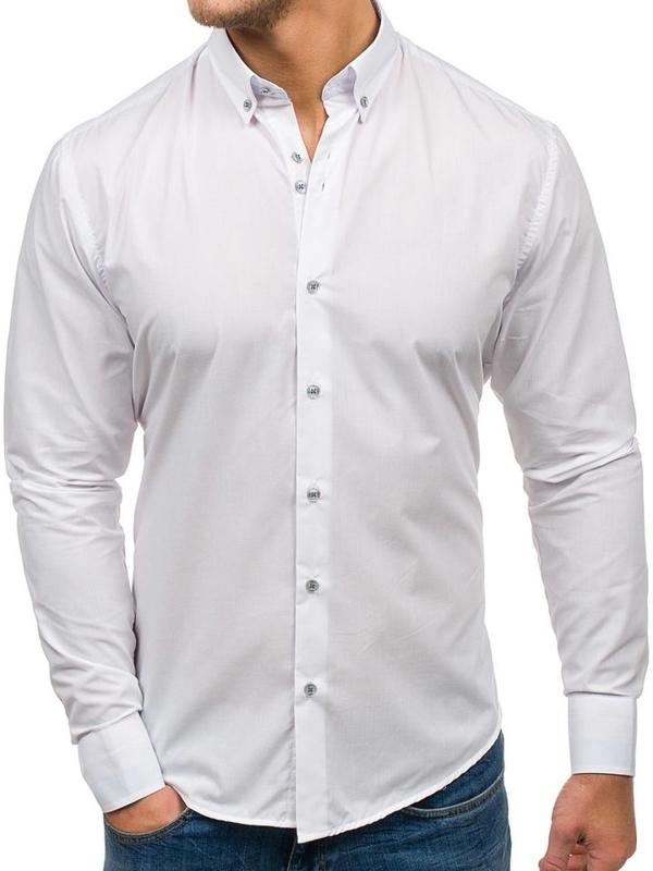 Bolf Herren Hemd Elegant Langarm Weiß Bolf 6927
