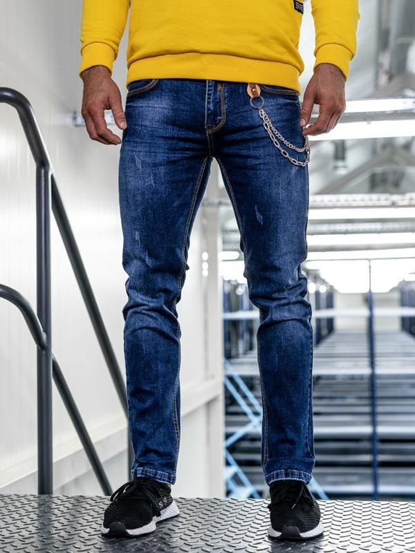 Bolf Herren Jeans Hose straight leg Dunkelblau  KA1232-1
