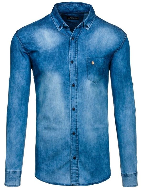 Bolf Herren Jeanshemd Langarm Blau  0493-1