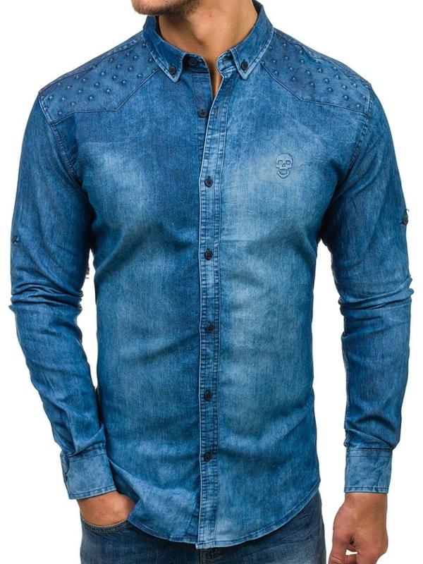 Bolf Herren Jeanshemd Langarm Blau  0540