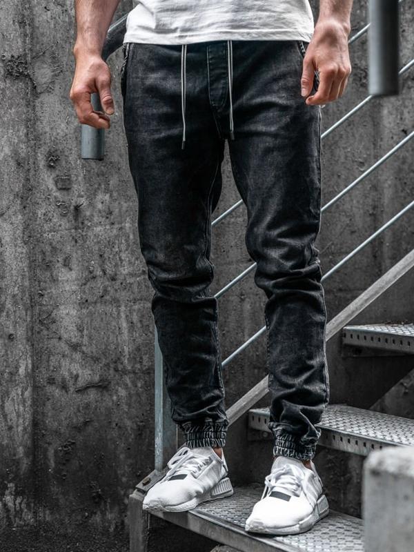 Bolf Herren Jeanshose Jogger Schwarz   KA1078