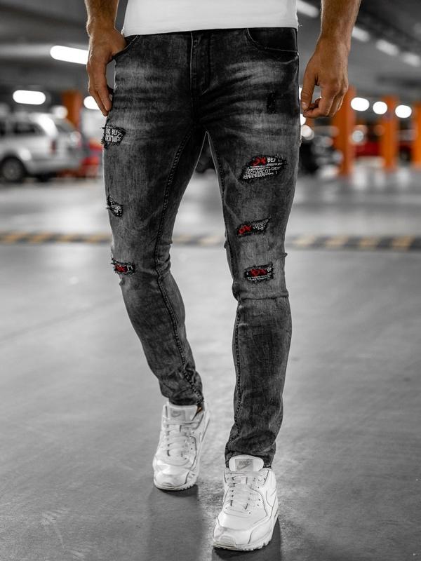 Bolf Herren Jeanshose mit Gürtel slim fit Schwarz  6030S0
