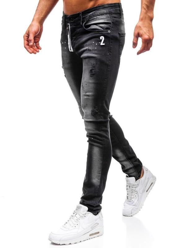 Bolf Herren Jeanshose skinny fit Schwarz  9243