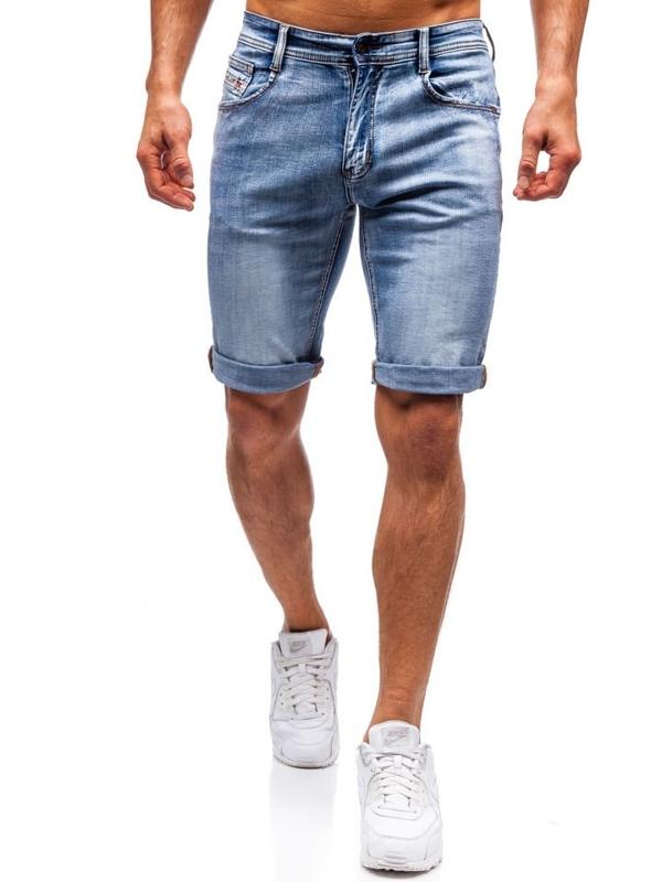 Bolf Herren Kurze Jeanshose Blau  7759