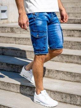 Bolf Herren Kurze Jeanshose Cargohose mit Gürtel Dunkelblau  KR1076