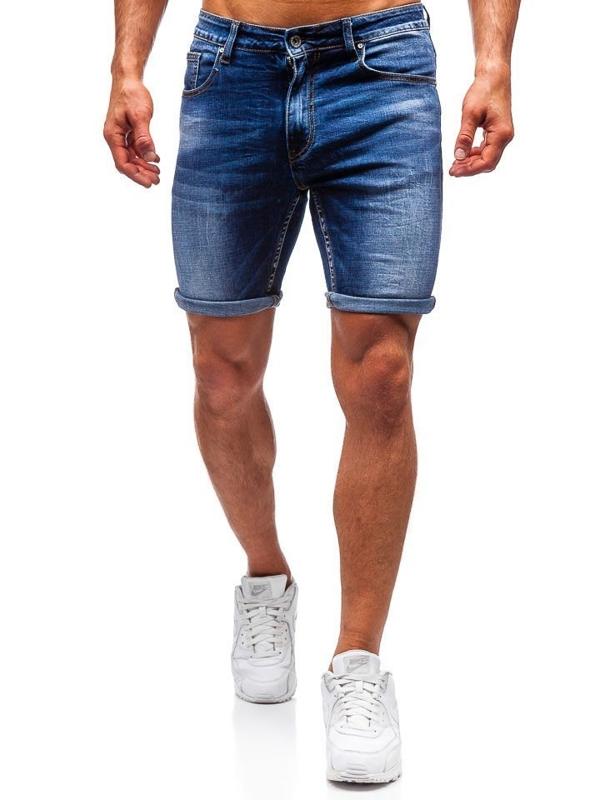 Bolf Herren Kurze Jeanshose Dunkelblau  T573
