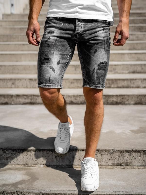Bolf Herren Kurze Jeanshose Schwarz  3013