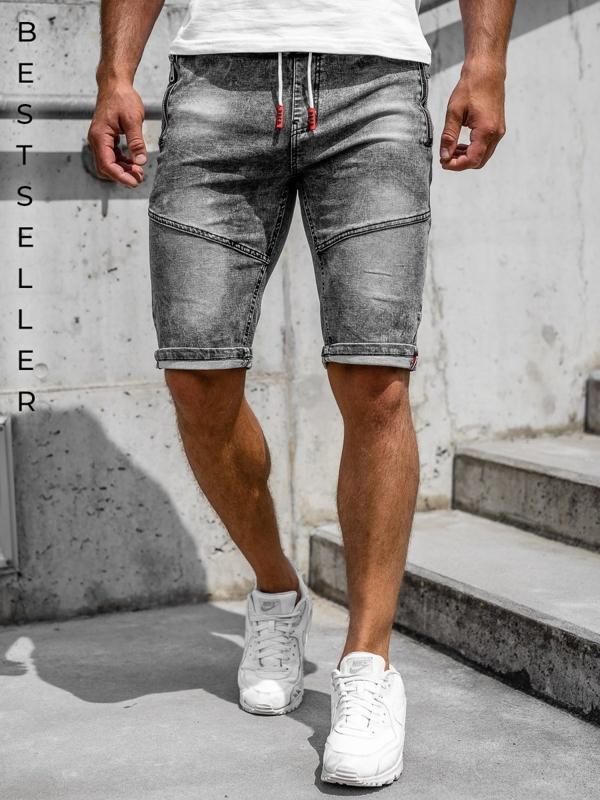 Bolf Herren Kurze Jeanshose Schwarz  HY651