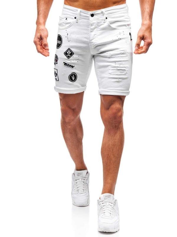 Bolf Herren Kurze Jeanshose Weiß  3029