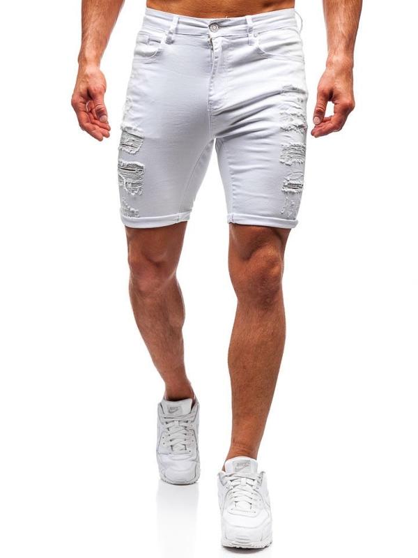 Bolf Herren Kurze Jeanshose Weiß  T392