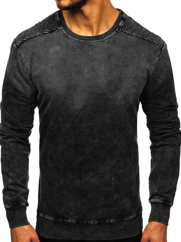 Bolf Herren Sweatshirt ohne Kapuze Schwarz  KK1030