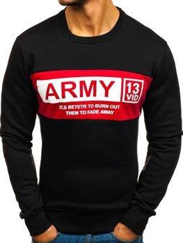 Bolf Herren Sweatshirt ohne Kapuze mit Aufdruck Schwarz  DD388