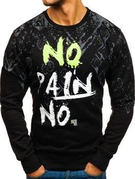 Bolf Herren Sweatshirt ohne Kapuze mit Aufdruck Schwarz  DD389