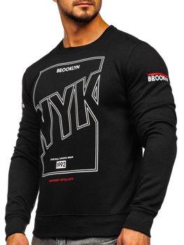 Bolf Herren Sweatshirt ohne Kapuze mit Aufdruck Schwarz  DD393