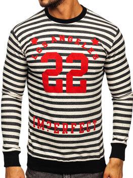 Bolf Herren Sweatshirt ohne Kapuze mit Motiv Schwarz Bolf 71