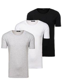 Bolf Herren T-Shirt ohne Motiv Mehrfarbig 3 Pack  798081-3p