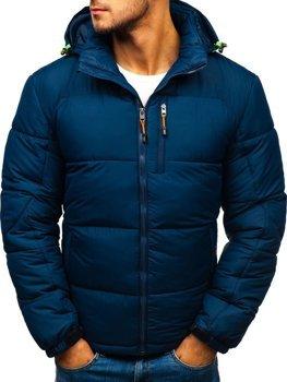 Bolf Herren Winterjacke Sport Jacke mit Steppmuster Dunkelblau  AB71