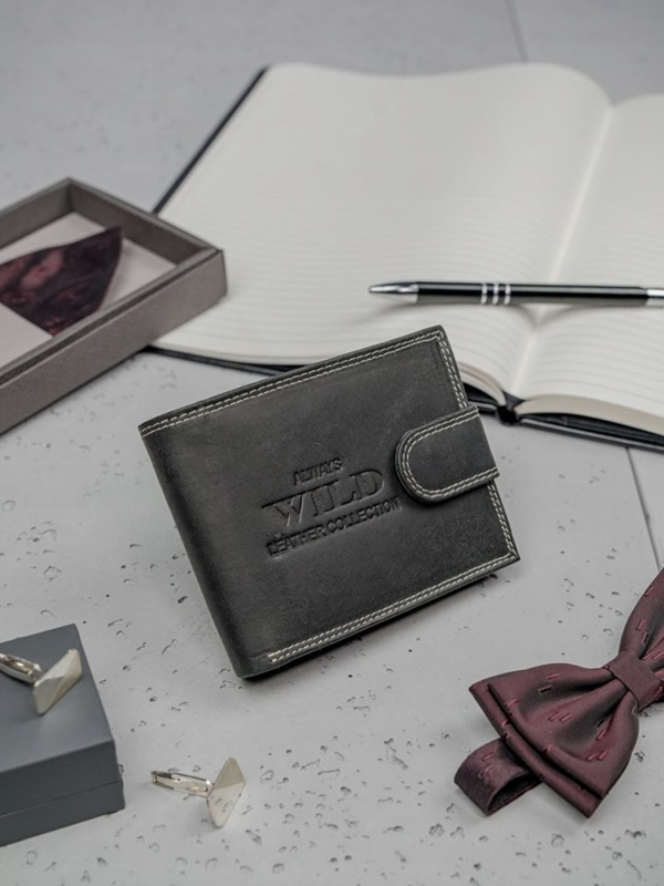 Herren Leder Geldbörse Schwarz 3201