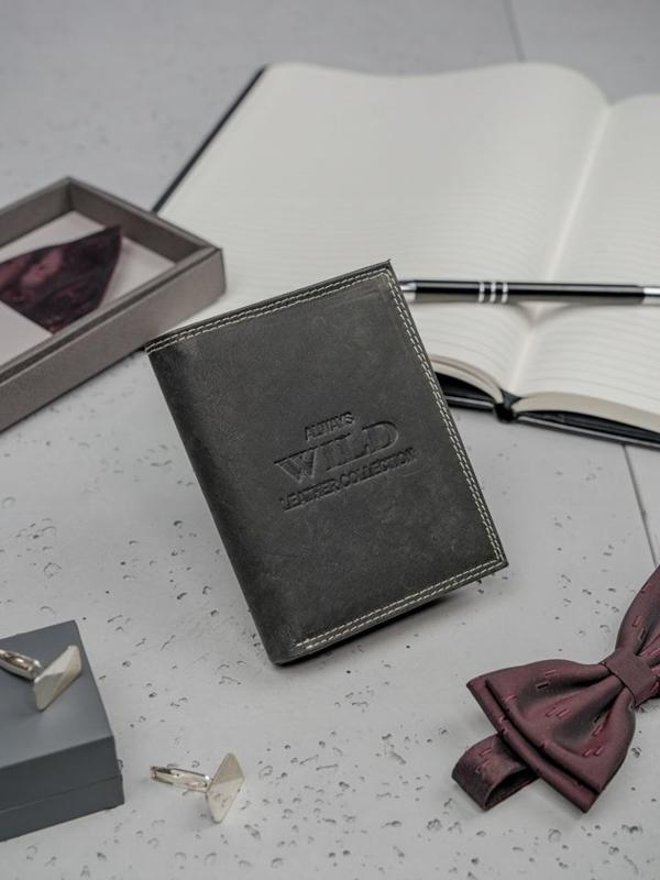 Herren Leder Geldbörse Schwarz 3203