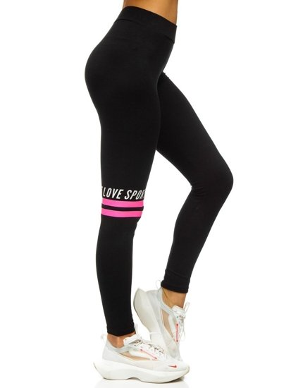 Bolf Damen Leggings mit Motiv Schwarz-Rosa  82350