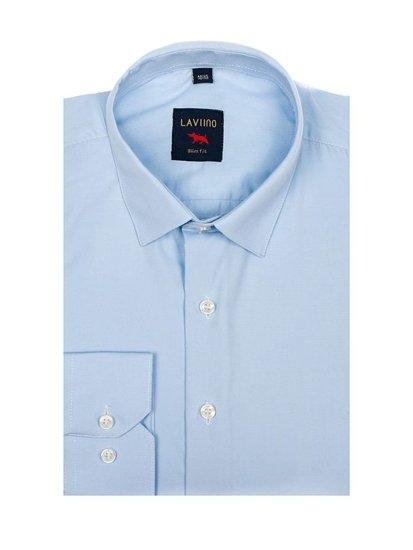 Bolf Herren Hemd Elegant Langarm Hellblau Denley TS100