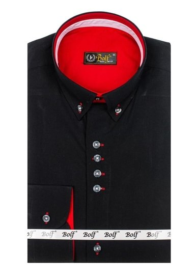 Bolf Herren Hemd Elegant Langarm Schwarz  6896-1