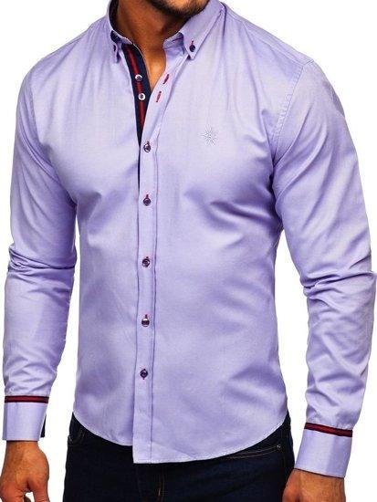 Bolf Herren Hemd Elegant Langarm Violett  5801-A