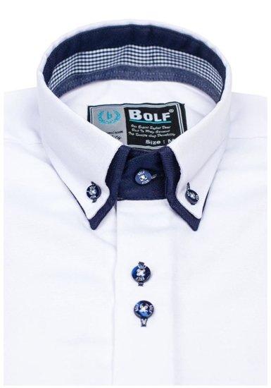 Bolf Herren Hemd Elegant Langarm Weiß  5805